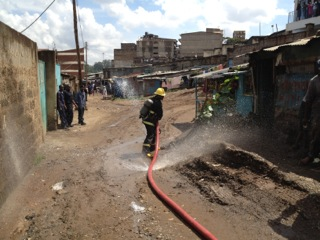 Nairobi Firefighter doing the best he can.