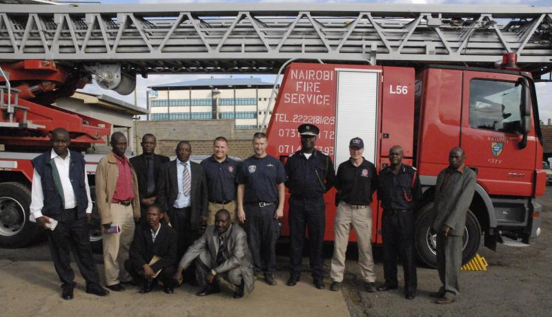 Africa Fire Mission members with Nairobi Fire Brigade officers